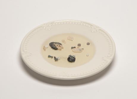 "Catherine Quattrociocchi  ""Specimen No.2,"" 2016  dishware (found), resin, vitreous enamel, copper  Portland, ME  1""x6.5""x6.5""  $175"