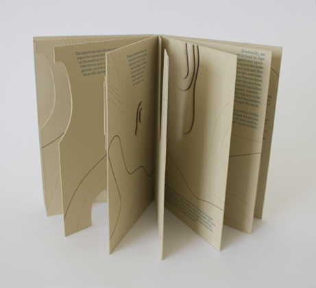 "Jaime Shafer  ""Old Geiger Grade,"" 2016  artist book: letterpress printed from handset metal type  Fallon, NV  6.75""x4.375""x.25""  $265"