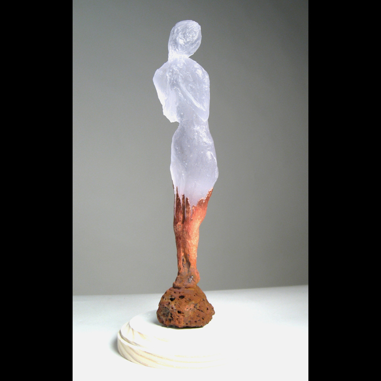 "Serena Smith  ""Untitled,"" 2017  lost wax cast glass, copper  The Dalles, OR  10""x2""x2""  $600"