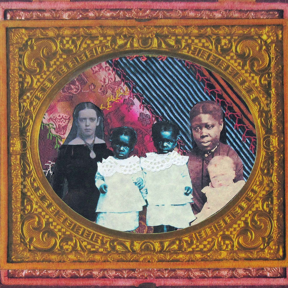 "Rhonda Thomas Urdang  ""Nursemaid with Twins,"" 2017  femmage with hand-cut found paper, white doilies, ink  Flagstaff, AZ  9""x9""x0""  $900"