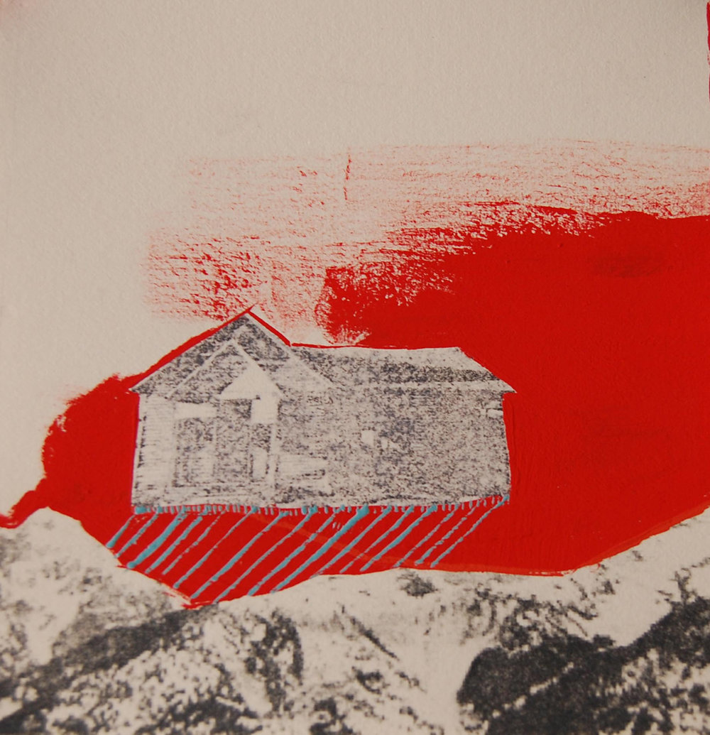 "Katie Twiss  ""Even When it Rains, We are Happy,"" 2015  mixed media; gouache and xerox transfer  Seattle, WA  5""x4.75""x0""  $125"