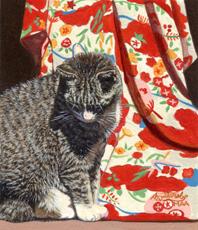"""Akiko Watanabe  """"Freddy with Kimono II,"""" 2017  acrylic  Pacifica, CA  3.5""""x3""""x0""""  $450"""