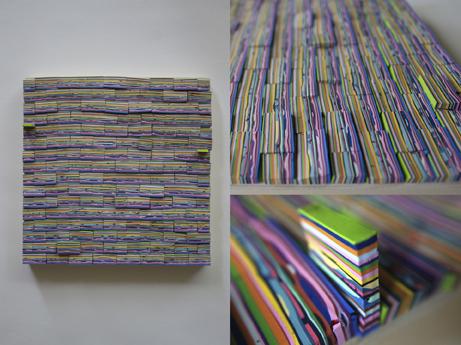 """Jenny Wu  """"Tiny Square Wall,""""2017  latex paint on canvas  Alexandria, VA  8""""x8""""x.75""""  $1,000"""