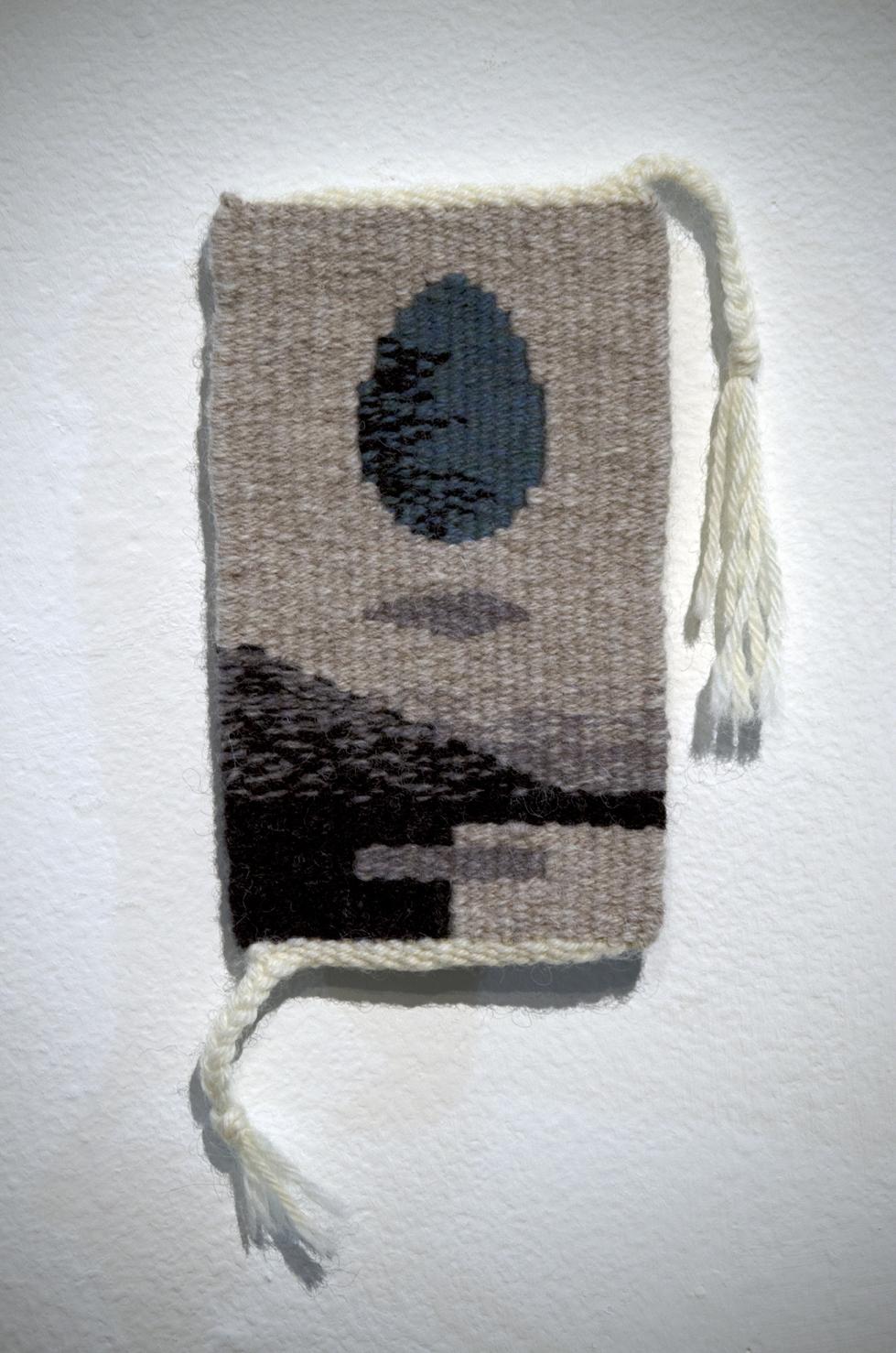 """Annette Harrison  """"Cosmic Egg II,"""" 2016  wool  Olympia, WA  8.5""""x4.25""""x.125""""  $225"""