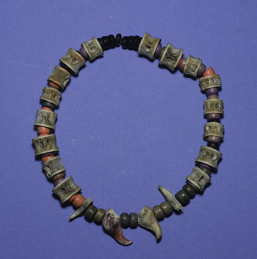"""Liz Snair  """"Vertabrae Jewelry,"""" 2017  found object jewelry  Kent, WA  3.25""""x3.25""""x.5""""  $300"""