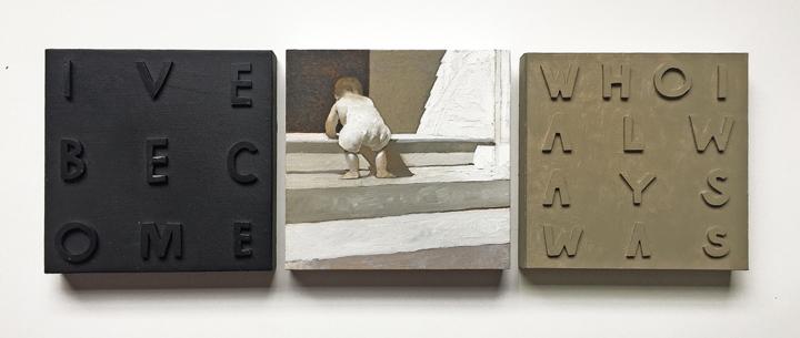 "David Bender  ""Letting Go,"" 2017  oil, clay  Brooklyn, NY  6""x18""x1""  $500"