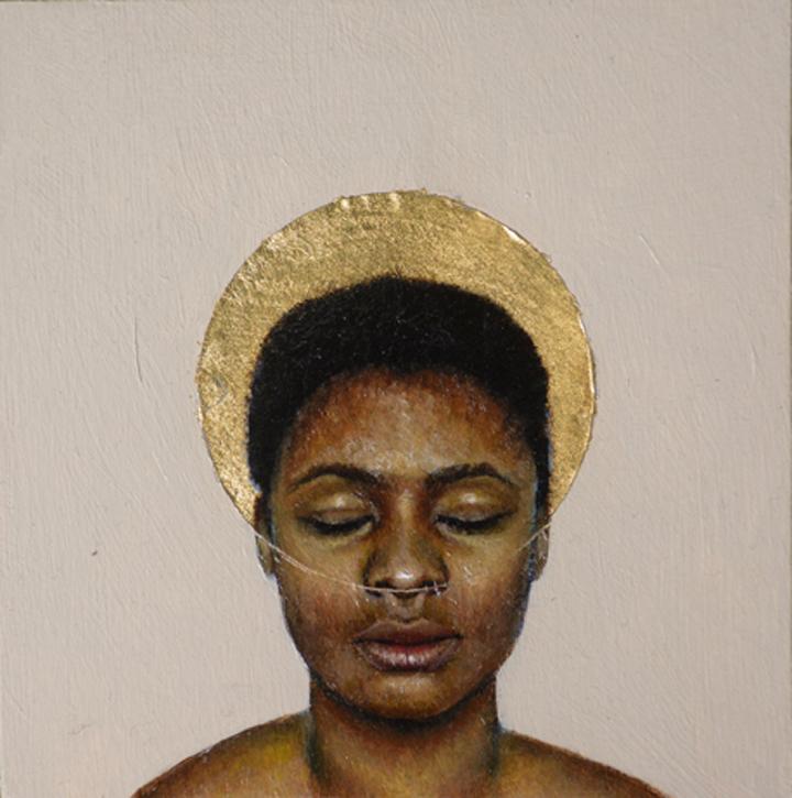 "Erica Ciganek  ""Jasmine III,"" 2017  oil on wood panel  Chicago, IL  6""x6""x1""  $500"