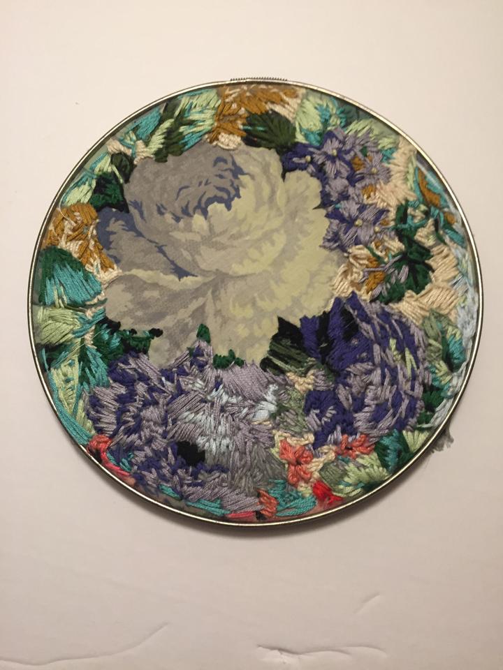"Nicole Cote  ""Floral Ballad,"" 2017  embroidery  Saskatoon, Saskatchewan  7""x7""x0""  $72"