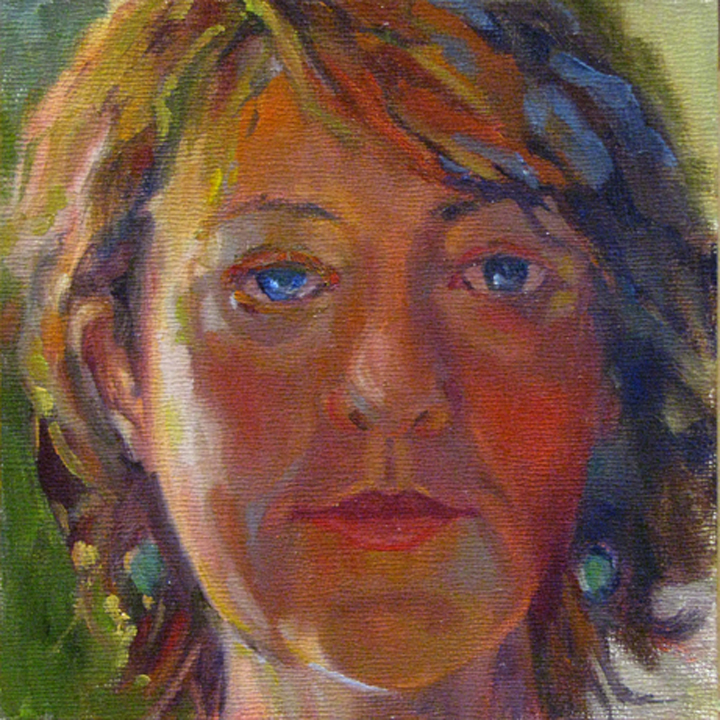 "Laura Gable   ""Selfie, Full Face,"" 2015  oil  Kennewick, WA  6""x6""x.125""  $250"