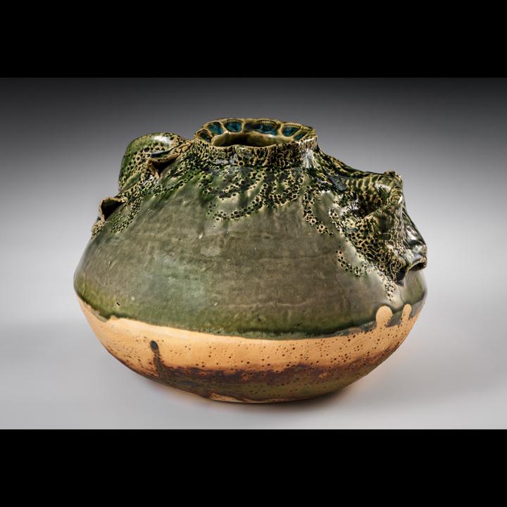 "Lisa Kurtz  ""Seaside Urn,"" 2016  white stoneware  Knoxville, TN  7""x8.5""x8.5""  $168"