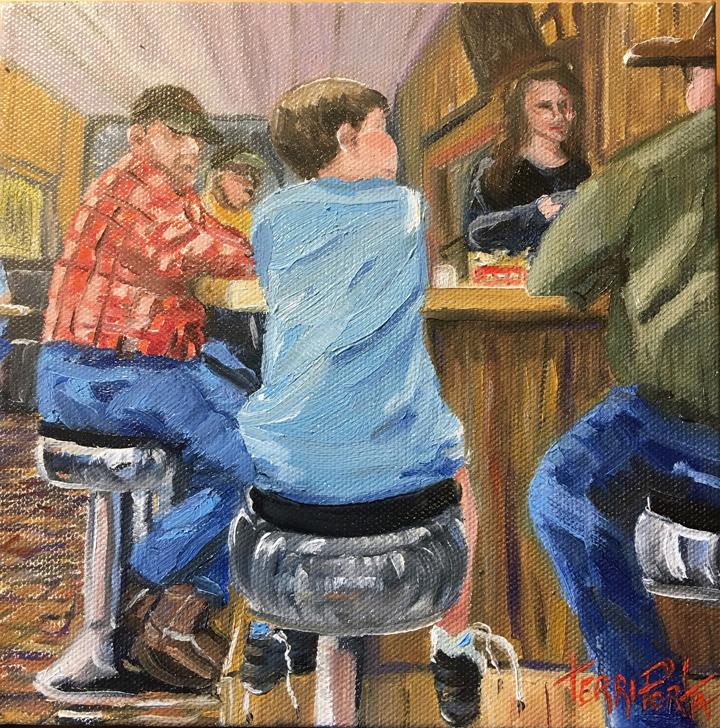 """Terri Porta  """"Talkin' Shop,"""" 2017  oil  Billings, MT  8""""x8""""x2""""  $150"""