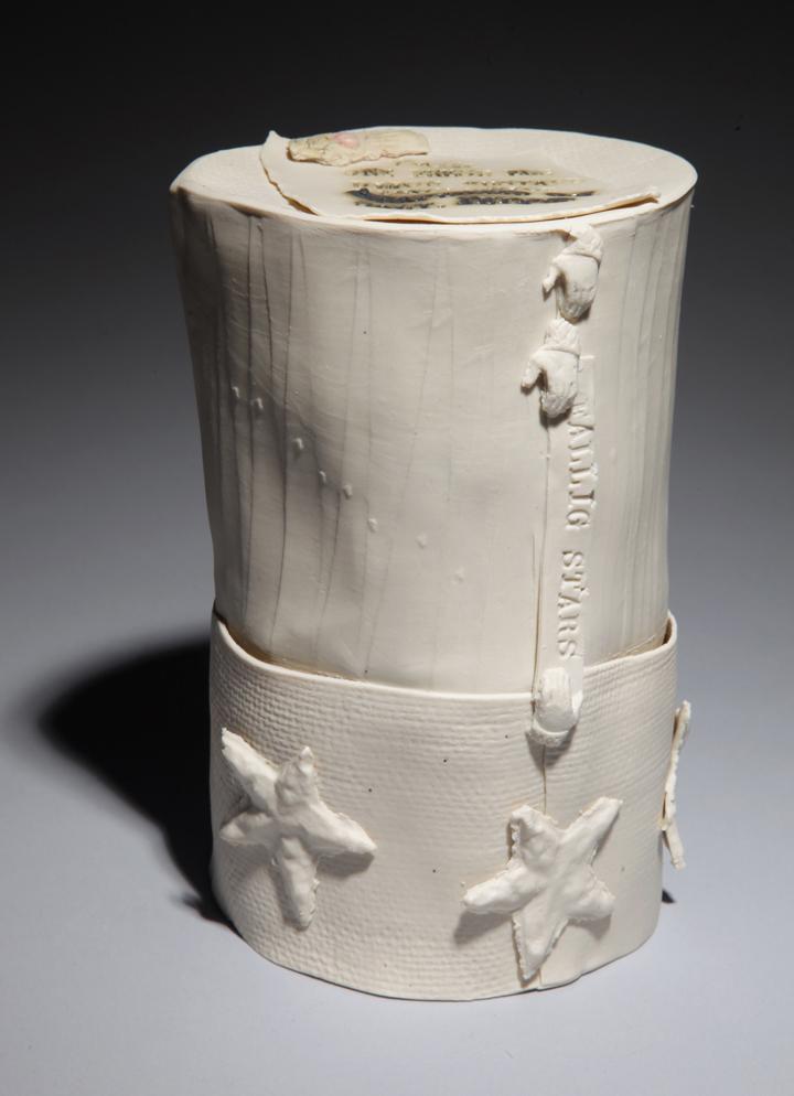 """Inge Roberts  """"Toque,"""" 2012  porcelain  Langley, WA  8""""x5""""x4""""  $950"""