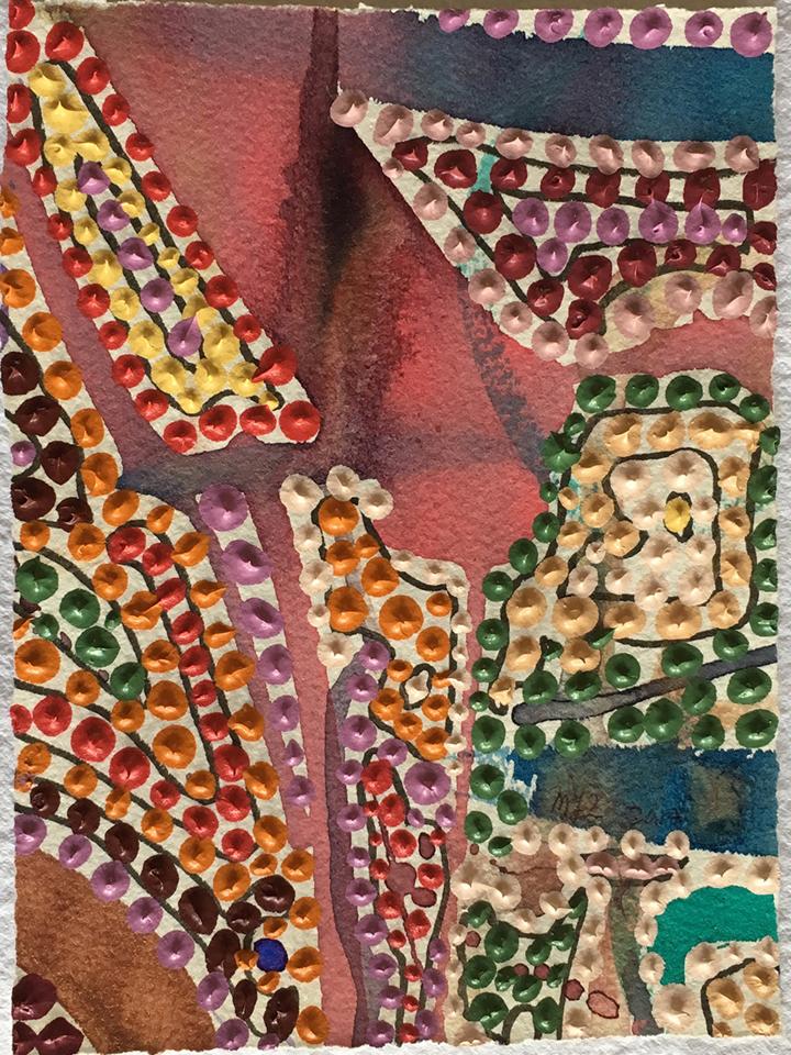 "Mary-Louise Totton  ""#307,"" 2017  acrylic and pen on paper  Kalamazoo, MI  8""x6""x0""  $100"