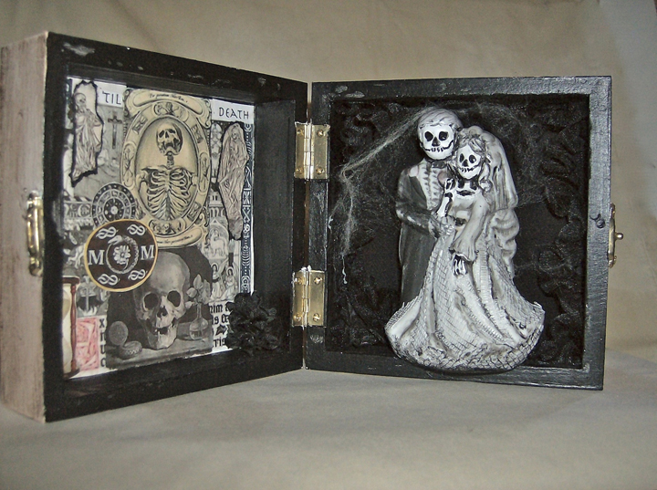 "Candy Tutt  ""Los Muertos Wedding Box,"" 2013  wooden box, ceramics, decoupage  Woodland, CA  4""x8""x2""  $100"