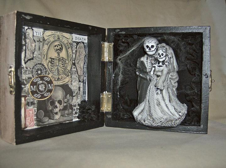 "Candy Tutt  ""Los Muertos Wedding Box,"" 2013  wooden box, ceramics, decoupage  Woodland, CA  4""x8""x2""  $100"