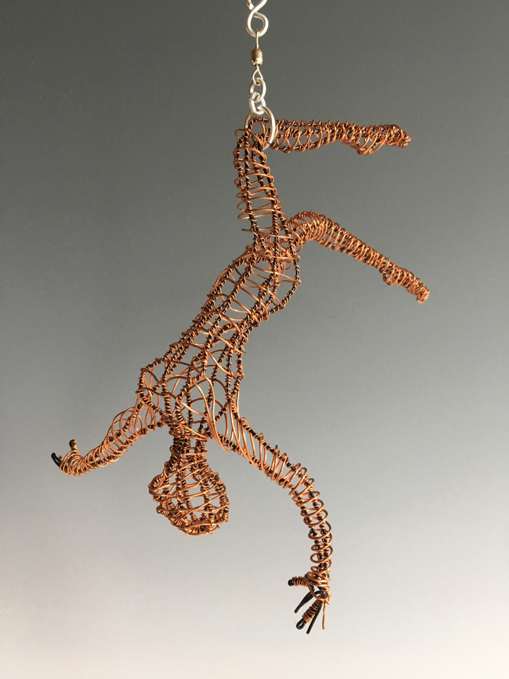 "Chris Wooten  ""Tricks and Poses- Free Falling,"" 2016  copper wire  Browns Point, WA  9""x8""x6""  $700"