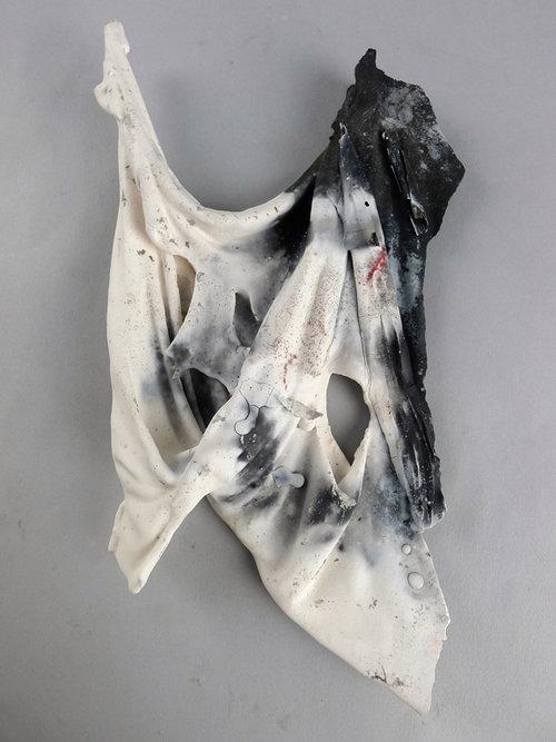 "Aveline Layne  ""A Tear in the Fabric,"" 2017  ceramic  Ellensburg, WA  9.5""x5.5""x.125""  $125"