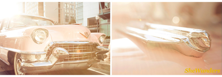 shewanders photography, southern californian wedding photography, pink cadillac