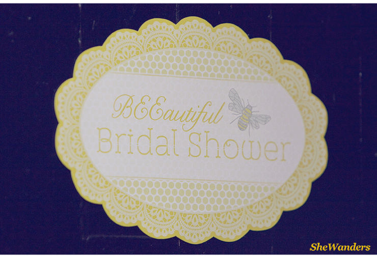 beeautiful bridal shower sign, yellow, Shewanders Wedding Photography, San Diego Wedding Photography