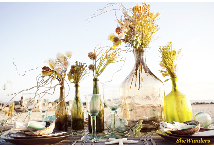 Beach Florals, Colored Glass Vases, Shewanders Photography, San Diego Wedding Photography,