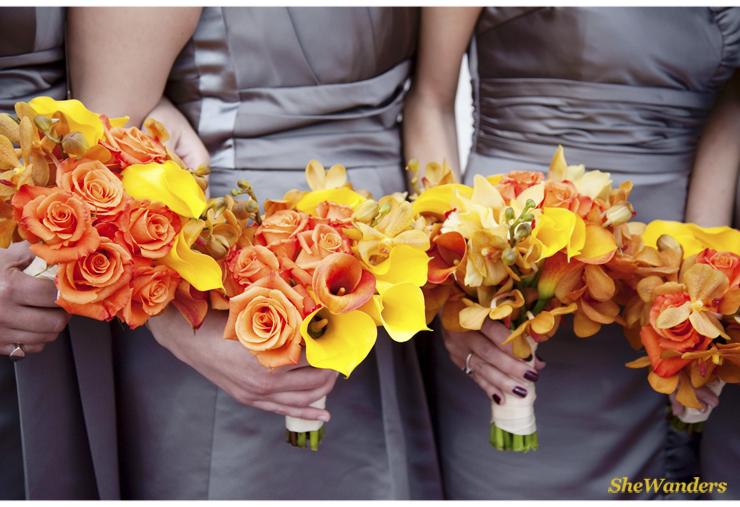 Orange Florals, Grey dresses, Shewanders Photography, San Diego Wedding Photography,