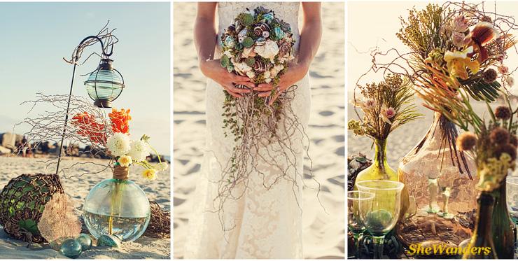 flowers on beach, bride on beach with shell flowers, table beach set up, San Diego Wedding Photography, SheWanders Wedding Photography