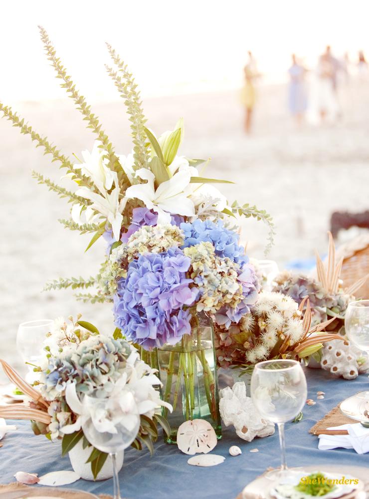 Blue Flowers, Beach Setup, Shewanders Photography, San Diego Wedding Photography,