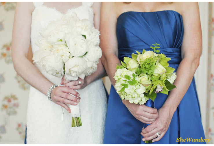 Bride and Bridesmaid, White and Green Flowers, Shewanders Photography, San Diego Wedding Photography