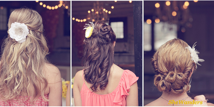 three individual pictures of back of girl's hair, Shewanders Wedding Photography, San Diego Wedding Photography