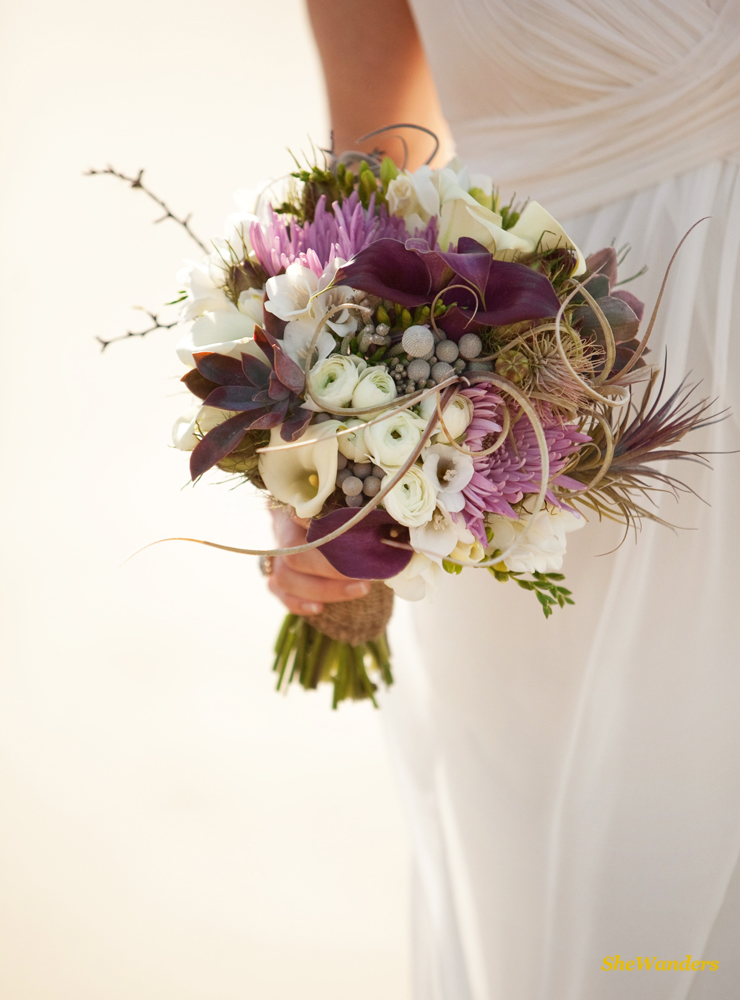Bride and purple flowers, Shewanders Photography, San Diego Wedding Photography