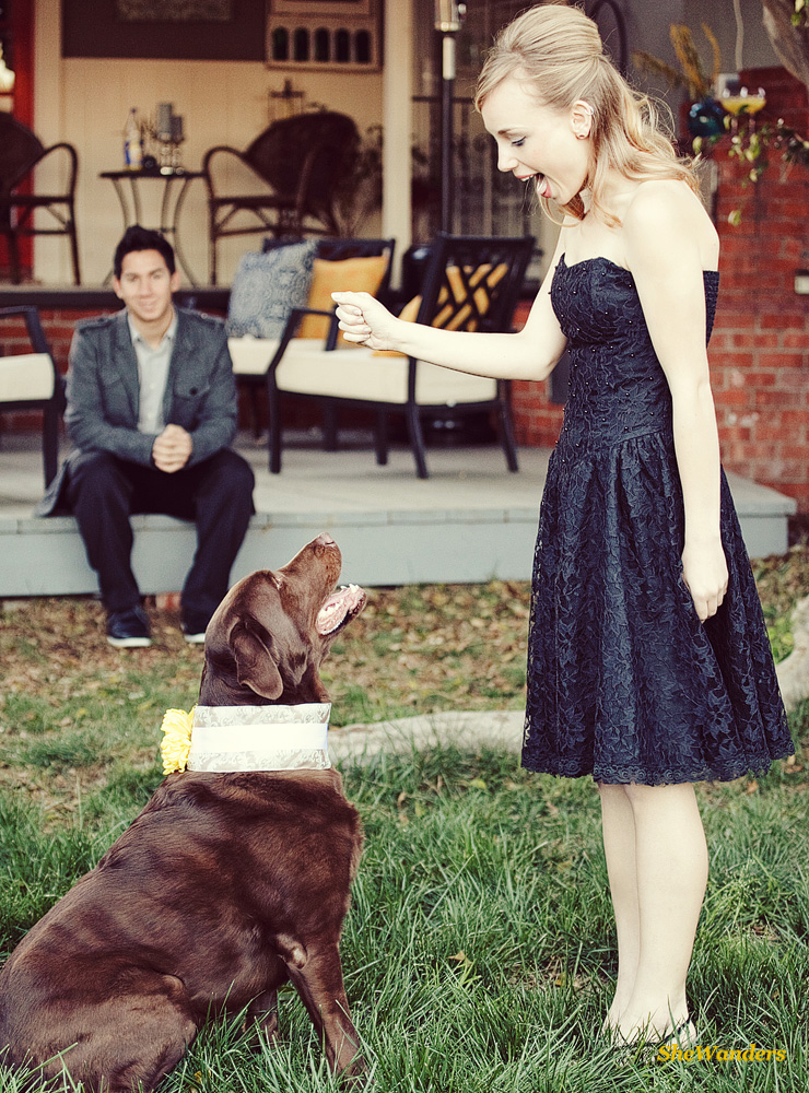 Lady in black dress with dog, guy in back, San Diego Wedding Photography, Shewanders Wedding Photography
