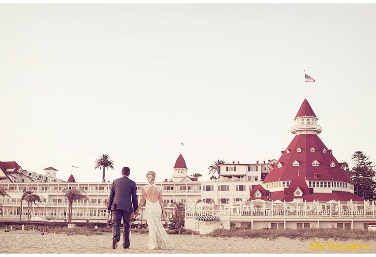 back of bride and groom, Coronado Hotel, San Diego Wedding Photography, SheWanders Wedding Photography