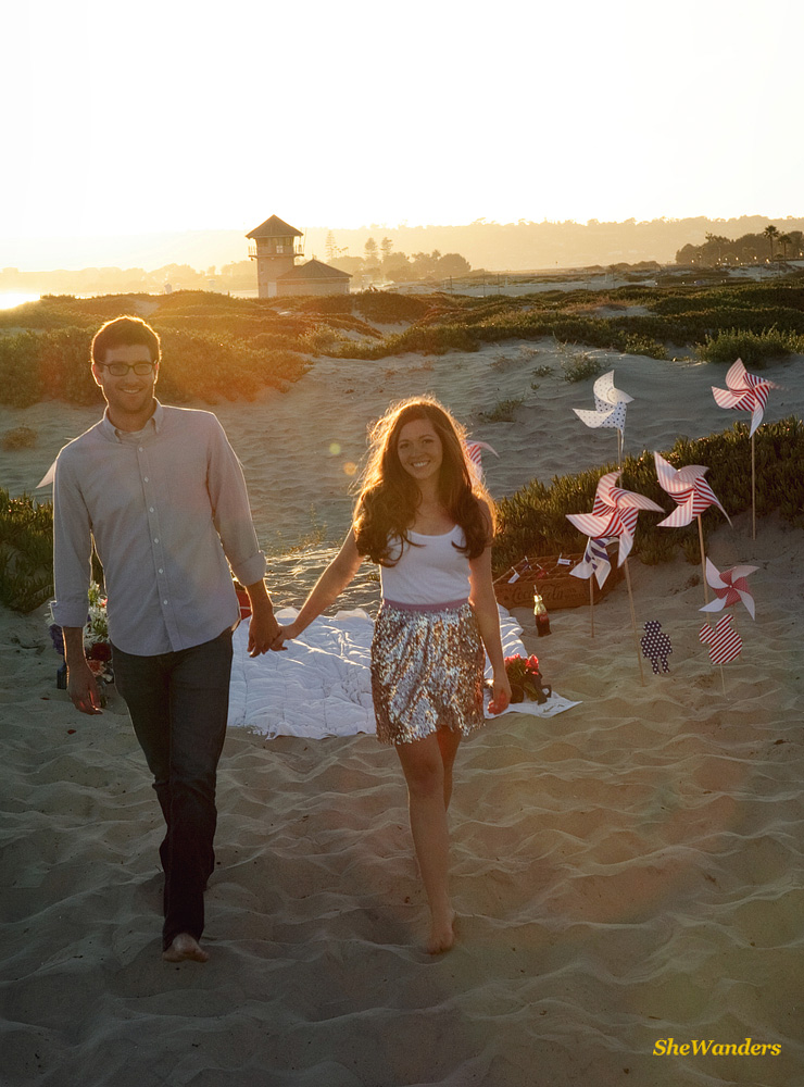 couple at beach, july 4th decorations, San Diego Wedding Photography, She Wanders Photography