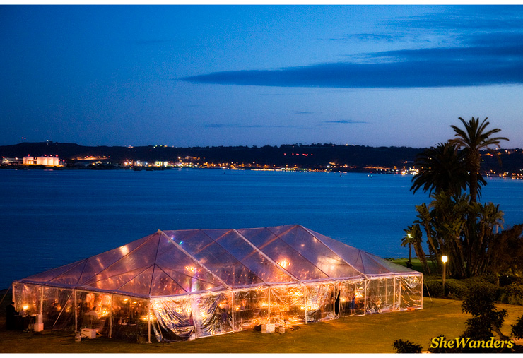 Wedding Tent at night, in front of water, San Diego Wedding Photography, SheWanders Wedding Photography
