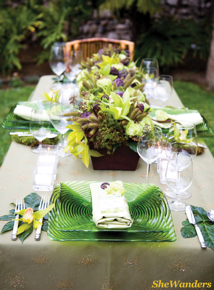 table set up, green flowers, San Diego Wedding Photography, SheWanders Wedding Photography