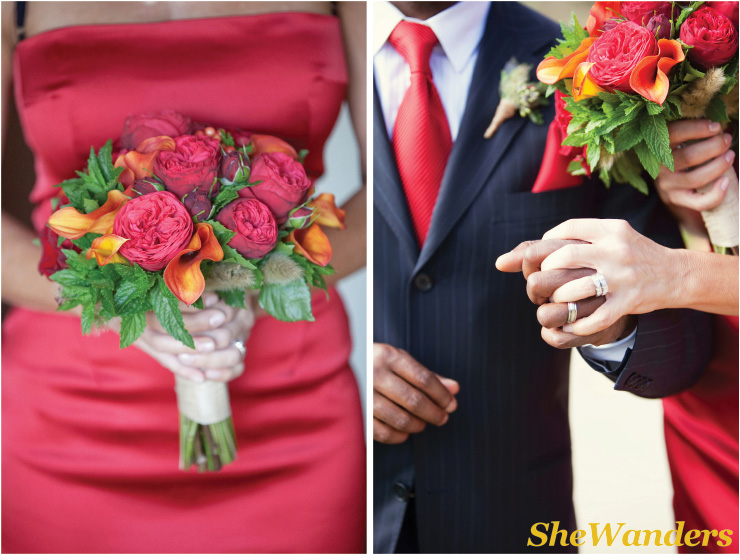 red flowers, bride and groom, San Diego Wedding Photography, SheWanders Wedding Photography