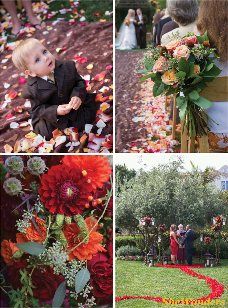 boy, aisle, red and orange flowers, red petal aisle, San Diego Wedding Photography, SheWanders Wedding Photography