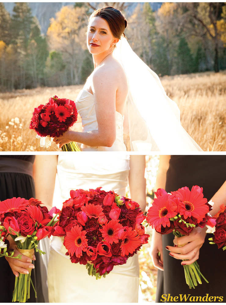 shewanders photography, san diego wedding photography, yosemite bride, red bouquets