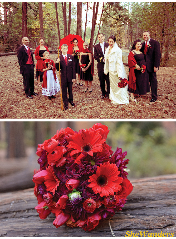 shewanders photography, san diego wedding photography, bridal party red dresses, yosemite,