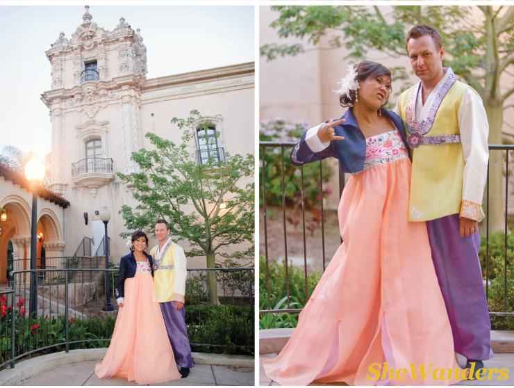 hilarious, korean bridal attire, san diego wedding photography, balboa park wedding photography, the prado