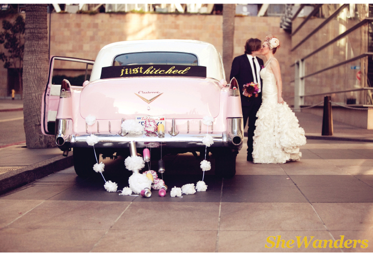 Pink Cadillac, Just Married Car, San Diego Wedding Photography, Shewanders Photography, Brightly Designed,