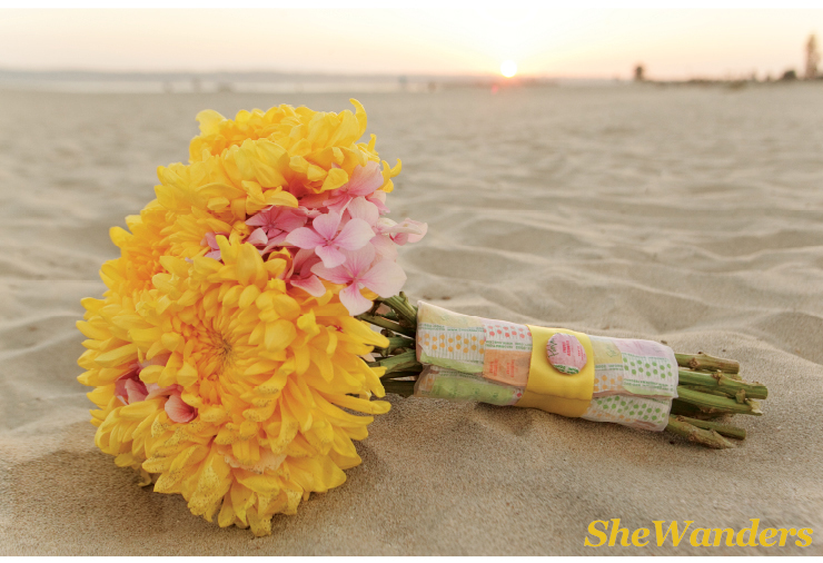 yellow and pink bouquet with candy wrapper, san diego wedding photography, exquisite weddings magazine, organic elements, coronado beach