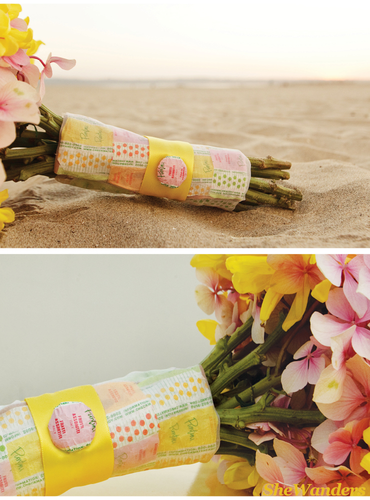 yellow and pink bouquet with candy wrapper, san diego wedding photography, exquisite weddings magazine
