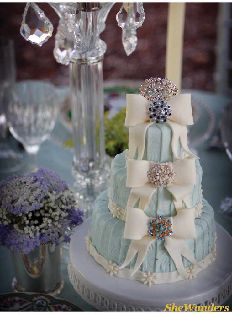 blue wedding cake with white bows and broaches, point loma california wedding photography, shewanders photography