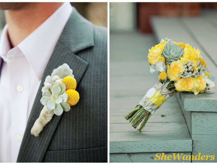san diego wedding photography, yellow light blue boutonnieres, wedding bouquet