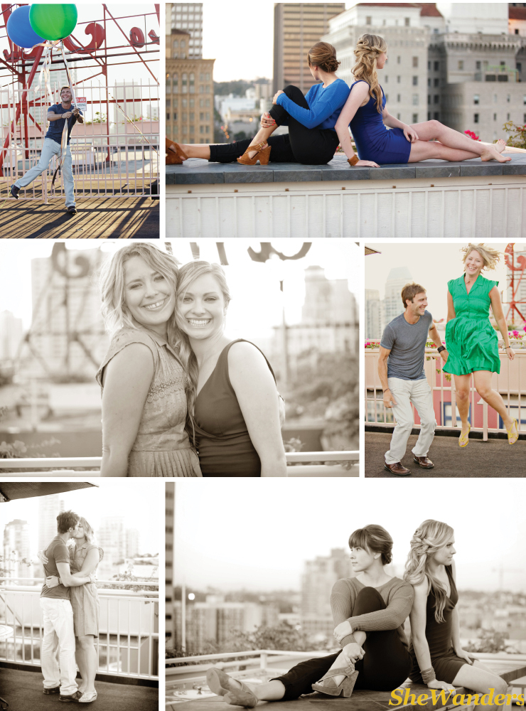san diego wedding photography, rooftop shoot,  Hotel St. James, couple jumping, balloons