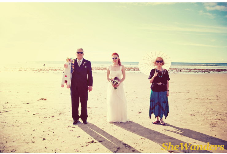 san diego wedding photography, beach wedding, pinata, sunglasses