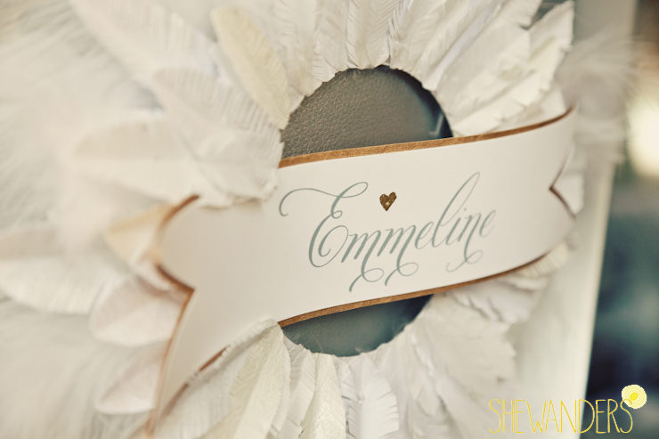 custom handmade wreaths, bride and groom names on back of chairs, wedding chicks feature, san diego wedding photography