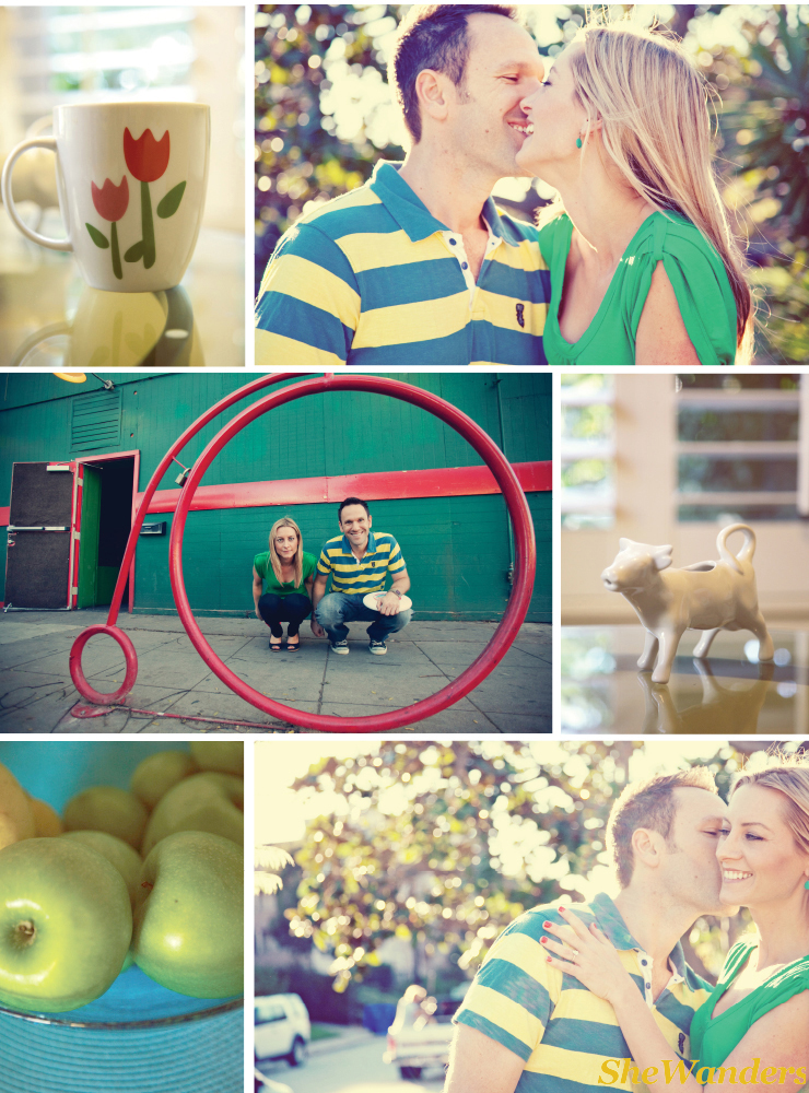 shewanders, san diego engagement photography, bicycle, apples, mug, cow