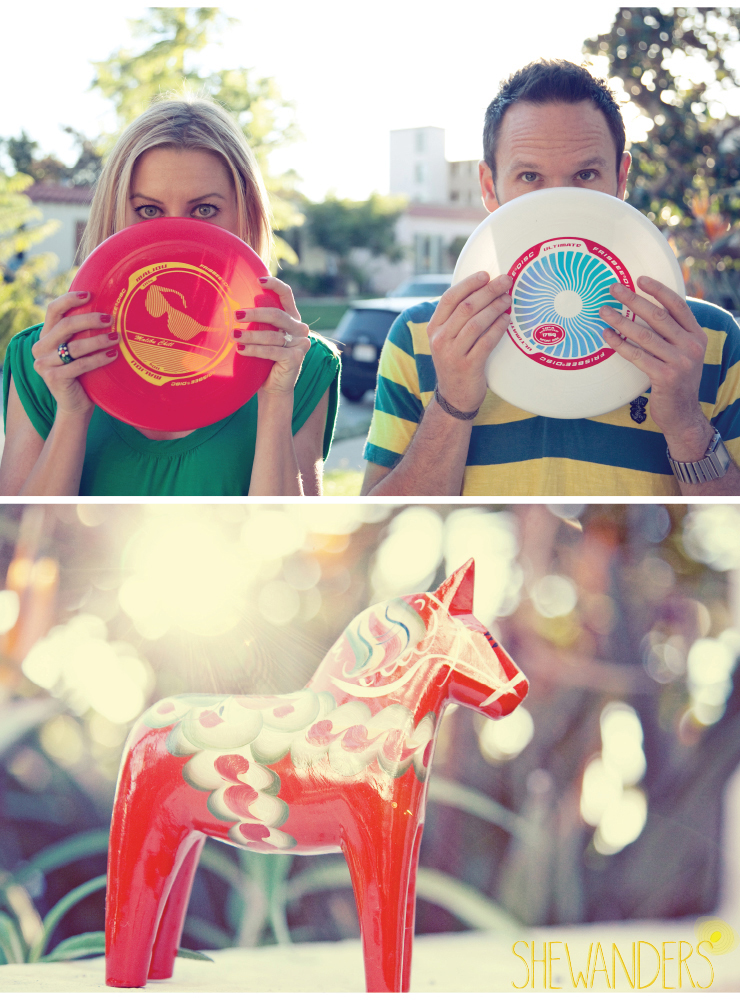 shewanders, san diego engagement photography, frisbees, wood horse